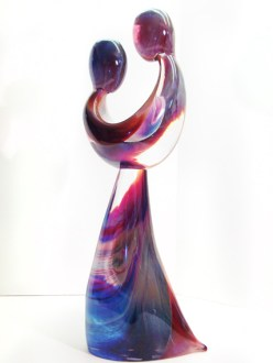 """Just-Friends, Medium: Clear and Caledonia Glass Size: 28"""" x 9.5"""" x 6.5"""" Artist: Dino Rosin #21731 Price: $13,500.00 REDUCED: $5,900.00"""