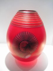 "Nautilus-Red-Vase, Medium: Glass Size: 16"" x 11"" x 11"" Artist: Richard Satava"