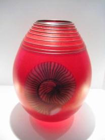 "Nautilus-Red-Vase, Medium: Glass Size: 16"" x 11"" x 11"" Artist: Richard Satava"