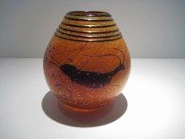 "Petroglyph-Vase, Medium: Glass Size: 6"" x 5"" Artist: Richard Satava"