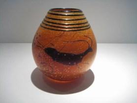 "Petroglyph-Vase, Medium: Glass Size: 6"" x 5"" Artist: Richard Satava"