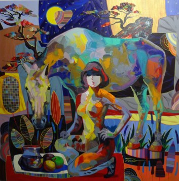 """Mi Mejor Amigo, Medium: Original Acrylic on Canvas Size: 50"""" x 50"""" #19169 Artist: Tadeo De La Barra"""