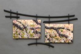 "AmberStorm, Medium: Glass Panel Size: 88"" x 42"" Artist: Roger Thomas"