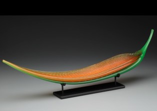 """Orange and Green Glass Frond 8.75"""" x 30"""" x 10"""""""