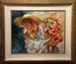 """Lady with Flower Basket Ltd Ed 111 of 125 24"""" x 29"""" F 35"""" x 40.25"""""""