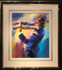 "Russian Violinist Original Oil on Canvas, Artist: Christian Jequel 26"" x 22"" Inv. 20862"