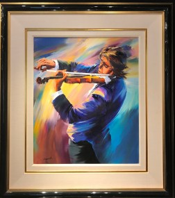 "Russian Violinist Original Oil on Canvas, Artist: Christian Jequel 26"" x 22"" Inv. 20862"
