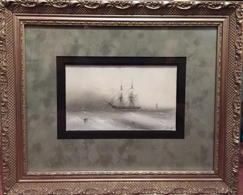 Sailing Ships c. 1884 6x9 unframed, Framed 14.5x17.5 #20865 Artist: Aivazofsky