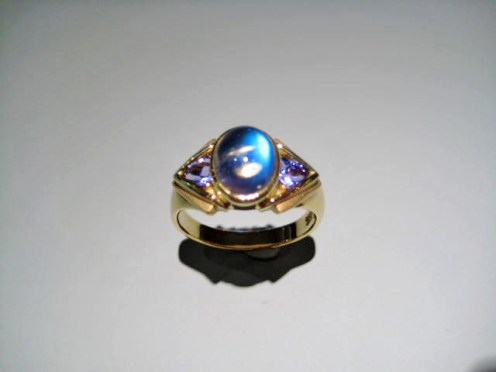 18K Gold Ring with Blue Moonstone and Tanzanite Artist: Krespi & White Catalog: 802-79-4