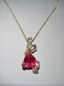 18K Gold Pendant with 5.1c Rubellite and .50c Diamond Artist: Kabana Stavros Catalog: 895-14-2