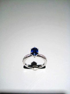 14K White Gold Ring with 1.69c Sapphire and .25c Diamond Artist: Kabana Stavros Catalog: 895-13-9 Price: $6,500.00
