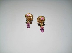 18K Gold Earrings with Pink Sapphire Artist: Kent Raible Catalog: 902-33-4 #18735 Price: $2,700.00 REDUCED: $2,500.00
