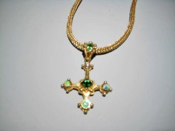 18K Gold Pendant with Green Tourmaline, Opal, 1.05c Green Garnet and .53c Diamond Artist: Kent Raible Catalog: 902-78-7 #18739 NECKLACE SOLD SEPARATE. Price of Pendant ONLY: $7,500.00 REDUCED: $5,200.00 Necklace Price: $7,500.00 REDUCED: $4,500.00