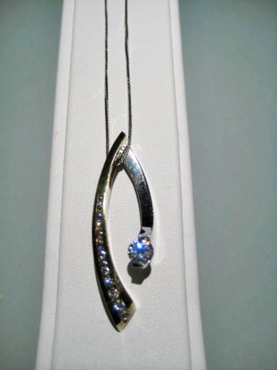 Platinum and 18K Gold Pendant and Chain with .40c Diamond and C.Z. Artist: Eddie Sakamoto Catalog: 603-30-4