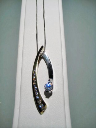 Platinum and 18K Gold Pendant and Chain with .40c Diamond and C.Z. Artist: Eddie Sakamoto Catalog: 603-30-4