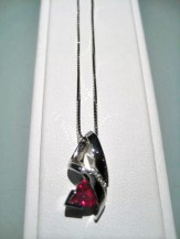 14K White Gold Pendant and Chain with .55c Ruby and .08c Diamond Artist: Frank Catalog: 900-18-5