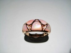 14K Pink Gold Ring with Mother of Pearl and .07c Diamond Artist: Kabana Stavros Catalog: 896-76-3
