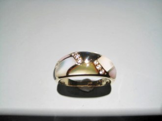 14K Gold Ring with Multi-Color Mother of Pearl and Diamond Artist: Kabana Stavros Catalog: 895-55-31