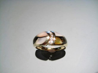 14K Gold Ring with Pink, Yellow, & Black Mother of Pearl and .10c Diamond Artist: Kabana Stavros Catalog: 900-27-1 #19960 Price: $1,950.00 REDUCED: $800.00