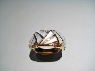 14K Gold Ring with White Mother of Pearl and .09c Diamond Artist: Kabana Stavros Catalog: 236-78-6