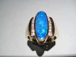 14K Gold Ring with Opal and Diamond Artist: Kabana Stavros Catalog: 800-47-5
