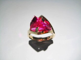 14K Gold Ring with Cultured Pink Sapphire Artist: Strellman Catalog: 897-64-0