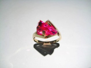 14K Gold Ring with Cultured Pink Sapphire Artist: Strellman Catalog: 896-29-6