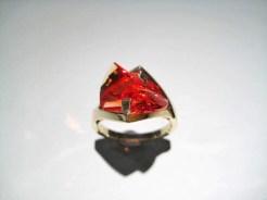 14K Gold Ring with Cultured Orange Sapphire Artist: Strellman Catalog: 601-44-7