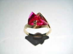 14K Gold Ring with Cultured Ruby Artist: Strellman Catalog: 398-03-5