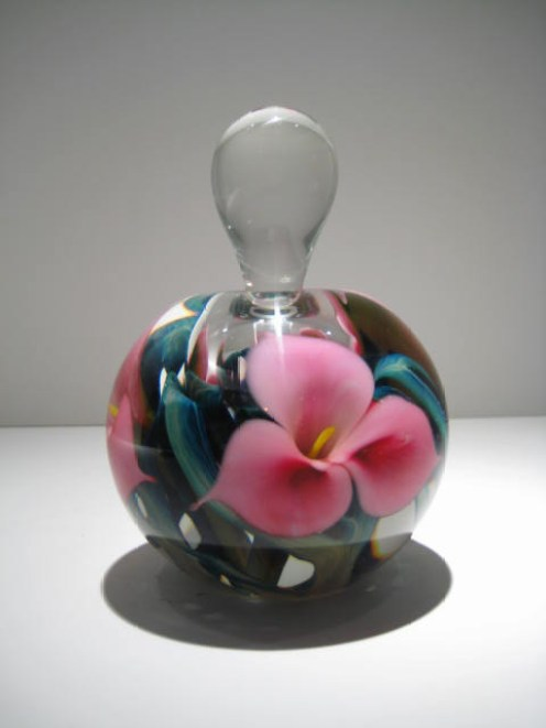 Pink Trillium Flower Perfume Bottle Artist: Jerry Heer Catalog: 134-3-9