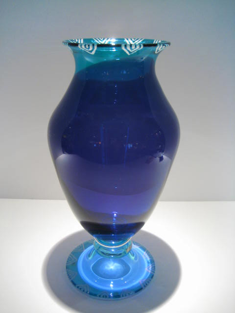 Etched Purple and Aqua Vase Artist: Cheryl Takacs Catalog: 459-44-2