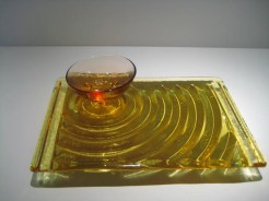 """Amber Sushi Dish with Small Bowl Artist: John Gilvey Size: 6"""" x 9"""" x 2.5"""" Catalog: 897-54-1 #19488 Price: $350.00 REDUCED: $195.00"""