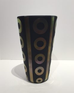 Black and Gold Hand Blown Vase Artist: Correia #18428