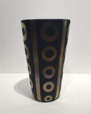 Black and Gold Hand Blown Vase Artist: Correia #18428