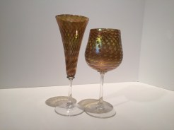 Honeycomb Hand-Blown Wine or Champagne Flute, Artist: Marting Minh