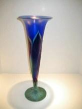Cobalt Fern Trumpet Vase, Medium: Hand Blown Glass Artist: Lundberg Studios 17.5x6.25x6.25 19565