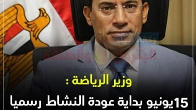 صورة عاجل..رسميا..وزير الرياضة يعلن 15 يونيو بداية عودة النشاط في الأندية ومراكز الشباب