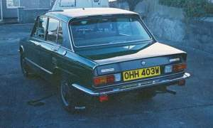Rear of green Triumph Dolomite 1850HL