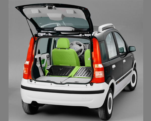 Tagliente Green Fiat Panda Alessi with open boot