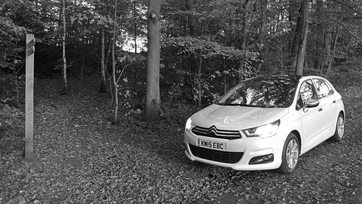 Citroen C4 in black and white