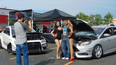 btr model taking photo with spectator