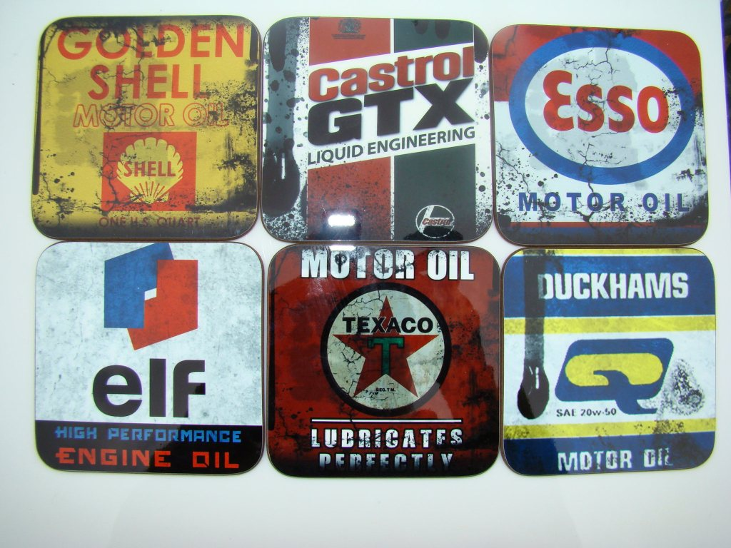 Set of 6 Retro Oil Inspired Coasters