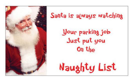 Santa is always watching parking cards