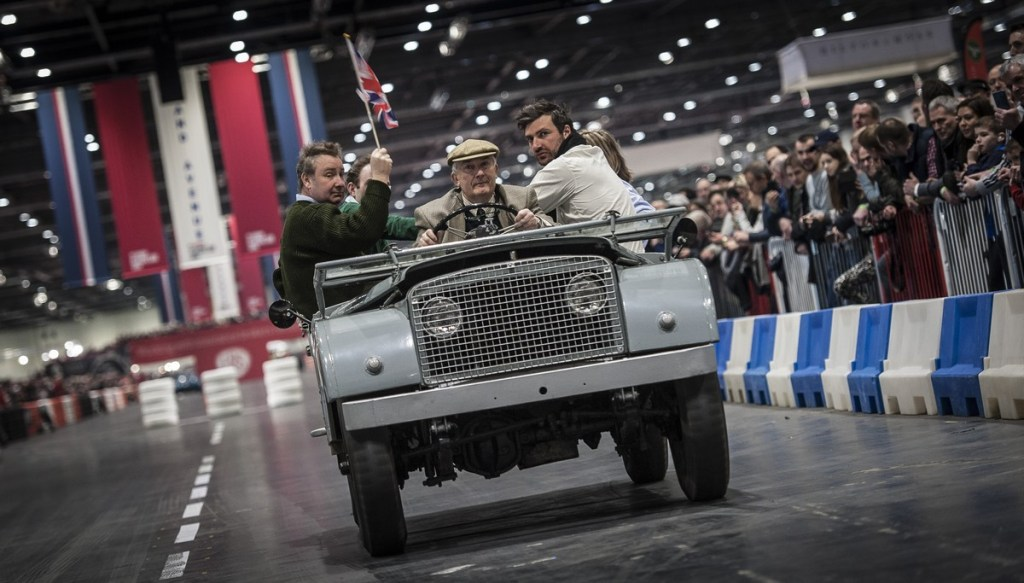 Centre steer Land-Rover on The Grand Avenue at The London Classic Car Show 2018