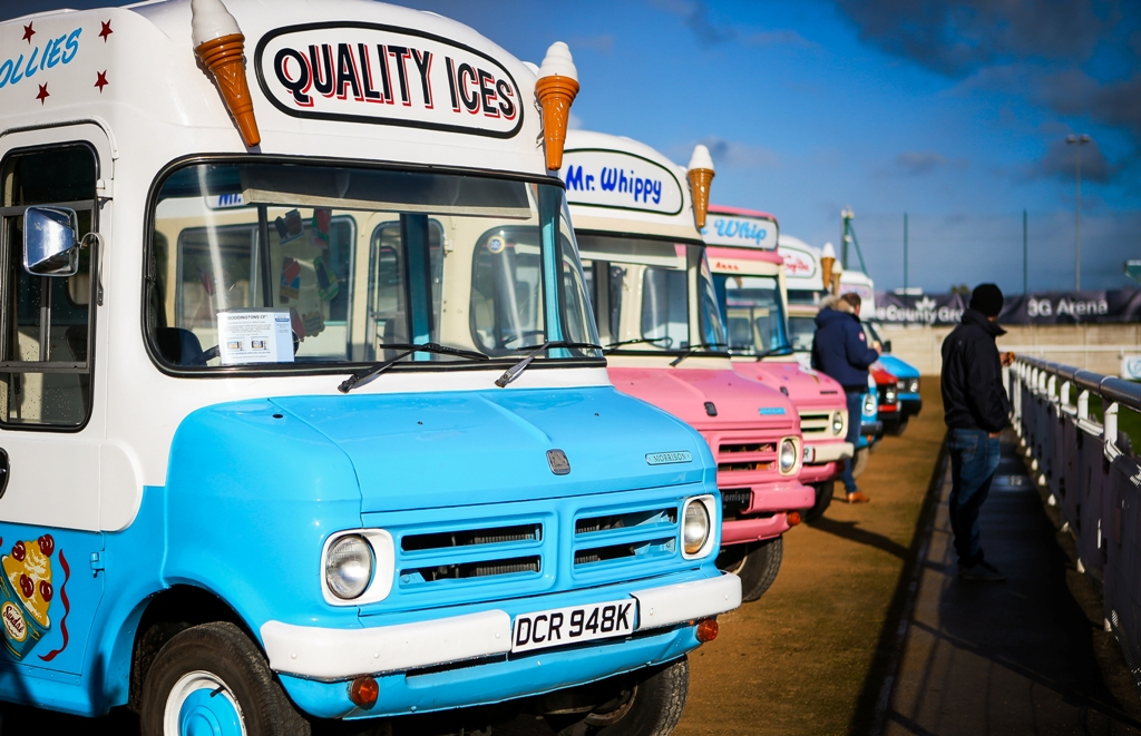 Bedford CF ice cream vans at Whitby Event