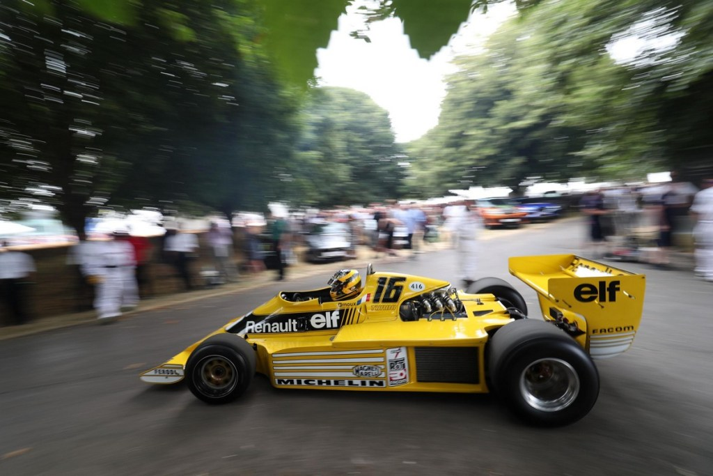 Michel Leclere driving Alpine-Renault A442B - Goodwood Festival of Speed 2018