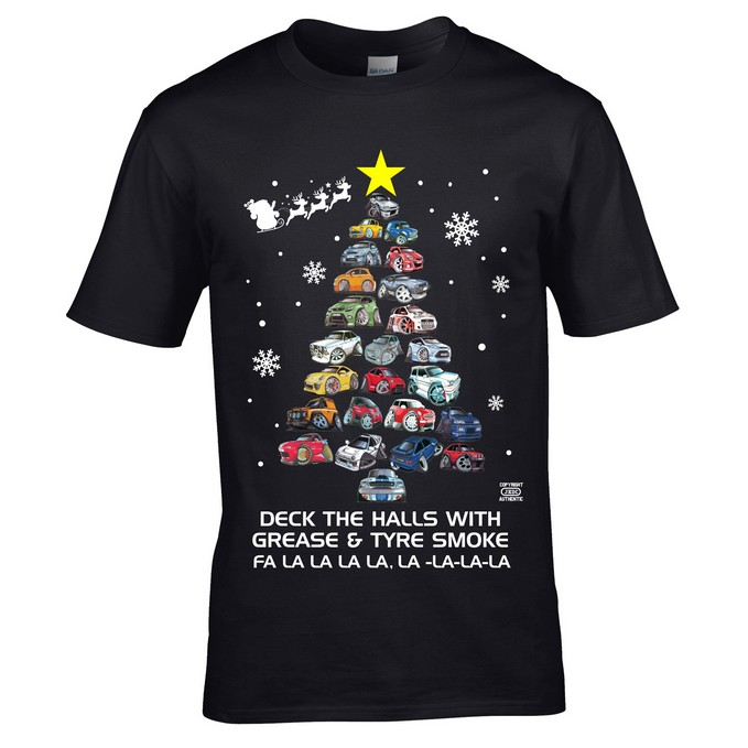 Koolart Cartoon Cars Deck The Halls Christmas Tree T-Shirt