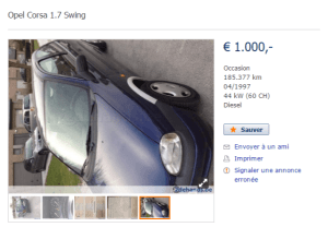 Opel Corsa 1.7 Swing d'occasion, Diesel, € 1.000,- à Egem (2)