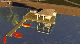 Schron przeciwdeszczowy z pomostem dla łódek