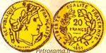 gravure 20 francs or Cérès